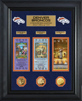 ***Denver Broncos Super Bowl 50 Champions Deluxe 3pc Gold Coin & Ticket Collection Framed LE