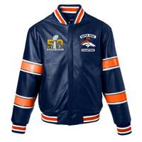 ***Denver Broncos Super Bowl 50 Champions Full Leather Jacket - Navy