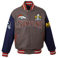 Denver Broncos  Super Bowl 50 Champions Wool Jacket - Charcoal
