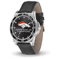 ****Denver Broncos Super Bowl 50 Champions Leather Watch