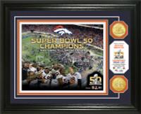 ***Denver Broncos Super Bowl 50 Champions Celebration 2pc Gold Coin Photo Mint LE