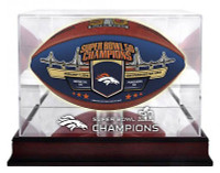 **Denver Broncos Super Bowl 50 Champions Color Panel Wilson Leather Football LE w/Mahogany Mirror Football Display Case