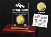 ***Denver Broncos 3-Time Super Bowl Champions Gold Coin Etched Desktop Display LE