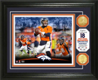 **Denver Broncos Peyton Manning Career 2pc Bronze Coin Photo Mint LE