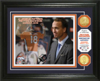 **Denver Broncos Peyton Manning Retirement 2pc Bronze Coin Photo Mint LE