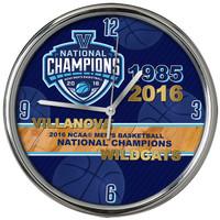 "Villanova Wildcats 2016 Men's NCAA National Basketball Champions 12"" Chrome Clock"