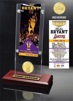 "Kobe Bryant Los Angeles Lakers ""Final Season"" Ticket and Bronze Coin Desktop Acrylic"