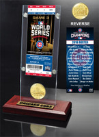 Chicago Cubs 2016 World Series Champions Ticket & Bronze Mint Coin Acrylic Desk Top Display LE
