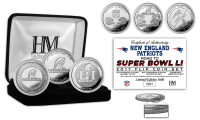 "New England Patriots ""Road to Super Bowl 51"" 3pc Silver Coin Set LE 5000"