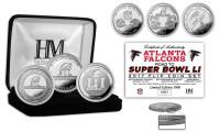 "Atlanta Falcons ""Road to Super Bowl LI"" 3pc Silver Coin Set LE 5000"