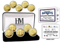 New England Patriots 5 Time 5pc Super Bowl Championship 24k Gold Coin w/Case LE 5,000