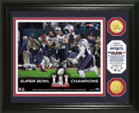 New England Patriots 2016 Super Bowl LI Champions Celebration 2pc Bronze Coin Photo Mint LE 5000