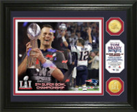 New England Patriots Tom Brady 2016 5X Super Bowl LI Champions MVP 2pc Bronze Coin Photo Mint LE 5000