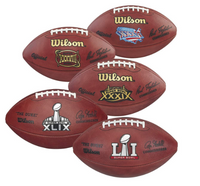 New England Patriots Super Bowl Championship Wilson Leather Football Collection of 5 Footballs