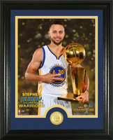 "Golden State Warriors Stephen Curry 2017 NBA Finals ""Trophy"" Bronze Coin Photo Mint  Trophy Framed LE 5,000"