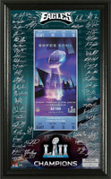 Philadelphia Eagles Super Bowl LII Champions Signature Ticket Framed LE 5,000
