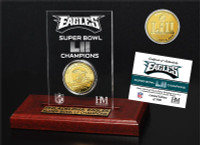 Philadelphia Eagles Super Bowl LII Champions 24k Gold Coin Etched Acrylic Display LE 5,000