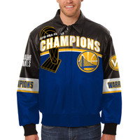 Golden State Warriors JH Design 2018 NBA 6-Time Champions Leather Jacket with Leather Logos - Black