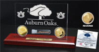 Auburn Oaks Authentic Oak 6x9 Etched Acrylic Gold Coin Desk Top
