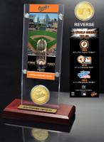 Baltimore Orioles World Series Ticket & Bronze Coin Acrylic Desktop