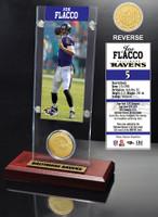 Joe Flacco Ticket & Bronze Coin Acrylic Desk Top