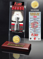 Calgary Flames Stanley Cup Champions Ticket and Bronze Coin Acrylic Display