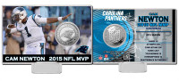 **Carolina Panthers Cam Newton 2015 NFL MVP Silver Coin Card LE