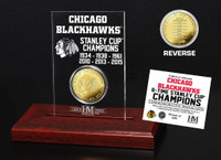 *Chicago Blackhawks 6-Time Stanley Cup Champions Etched Display Gold Mint Coin