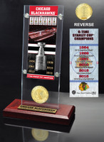 *Chicago Blackhawks 6-Time Stanley Cup Champions Ticket & Bronze Coin Acrylic Desktop