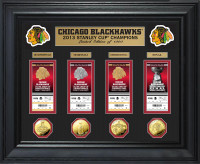*Chicago Blackhawks Stanley Cup Ticket and Gold Coin Collection