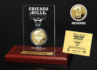 Chicago Bulls 24KT Gold Coin Etched Acrylic
