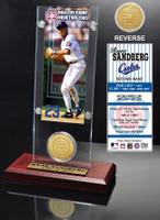 Ryne Sandberg Hall of Fame Ticket & Bronze Coin Acrylic Desk Top