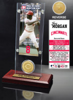 Joe Morgan Hall of Fame Ticket & Bronze Coin Acrylic Desk Top