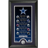 "Dallas Cowboys ""Legacy"" 5 Time Super Bowl Silver Minted Coin Photo Mint LE"