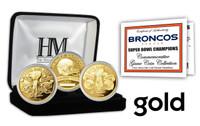 Denver Broncos 2-time Super Bowl Champions Gold Game Coin Set