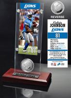Calvin Johnson Ticket & Minted Coin Acrylic Desk Top
