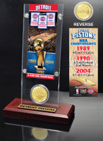 Detroit Pistons 3-time NBA Champions Bronze Coin Ticket Acrylic