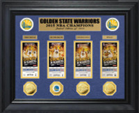 Golden State Warriors 2015 NBA Finals Champions Deluxe Gold Coin & Ticket Collection