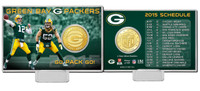 Green Bay Packers 2015 Schedule Bronze Coin Card