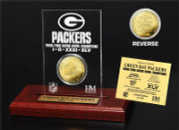 Green Bay Packers 4-Time Champions 24KT Gold Coin Engraved Acrylic Desk Top