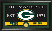 Green Bay Packers The Man Cave Bronze Coin Panoramic Photo Mint