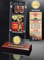 Houston Rockets 2-time NBA Champions Bronze Coin Ticket Acrylic