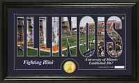 University of Illinois Silhouette Bronze Coin Panoramic Photo Mint