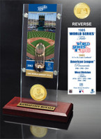 Kansas City Royals World Series Ticket & Bronze Coin Acrylic Desktop