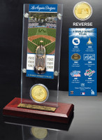 Los Anges Dodgers World Series Ticket & Bronze Coin Acrylic Desk Top