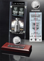LA Kings 2-time Stanley Cup Champions Ticket & Minted Coin Acrylic Desk Top