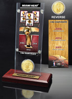 Miami Heat 3-Time NBA Champions Ticket & Bronze Coin Acrylic Desk Top