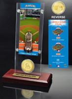 Miami Marlins World Series Ticket & Bronze Coin Acrylic Desktop