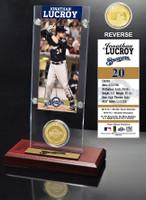 Jonathan Lucroy Ticket & Bronze Coin Acrylic Desk Top