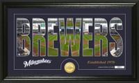 Milwaukee Brewers Silhouette Bronze Coin Panoramic Photo Mint